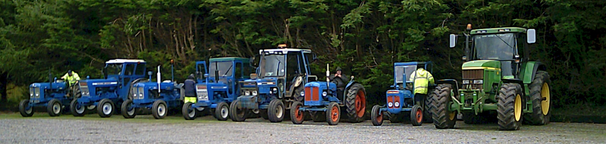 Line of tractors at the Countryman Restaurant
